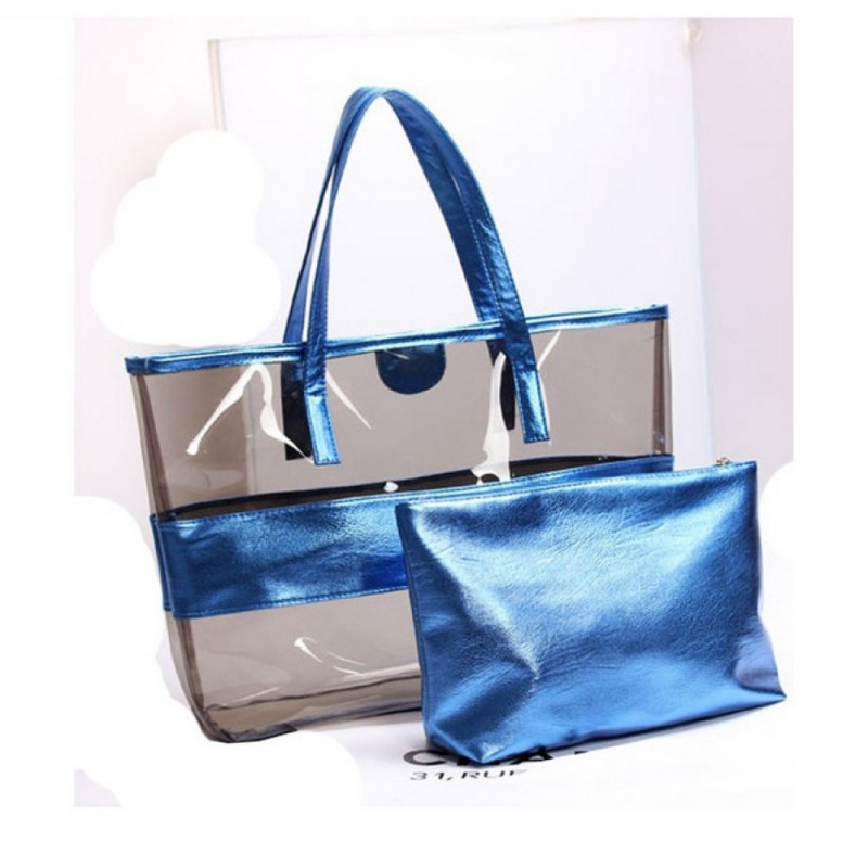 2019 New Design Summer Waterproof PVC Beach bag Set with Cosmetic Pouch For Travel