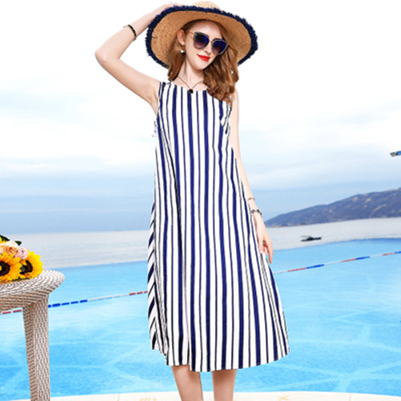 2019 new summer elegant and fashionable striped dress sexy backless sleeveless slim ladies dress