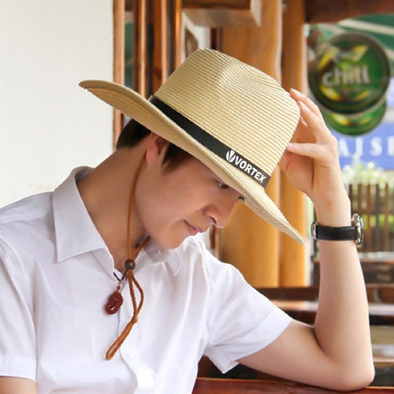 Wholesale Outdoor Leather Belt Straw Hat