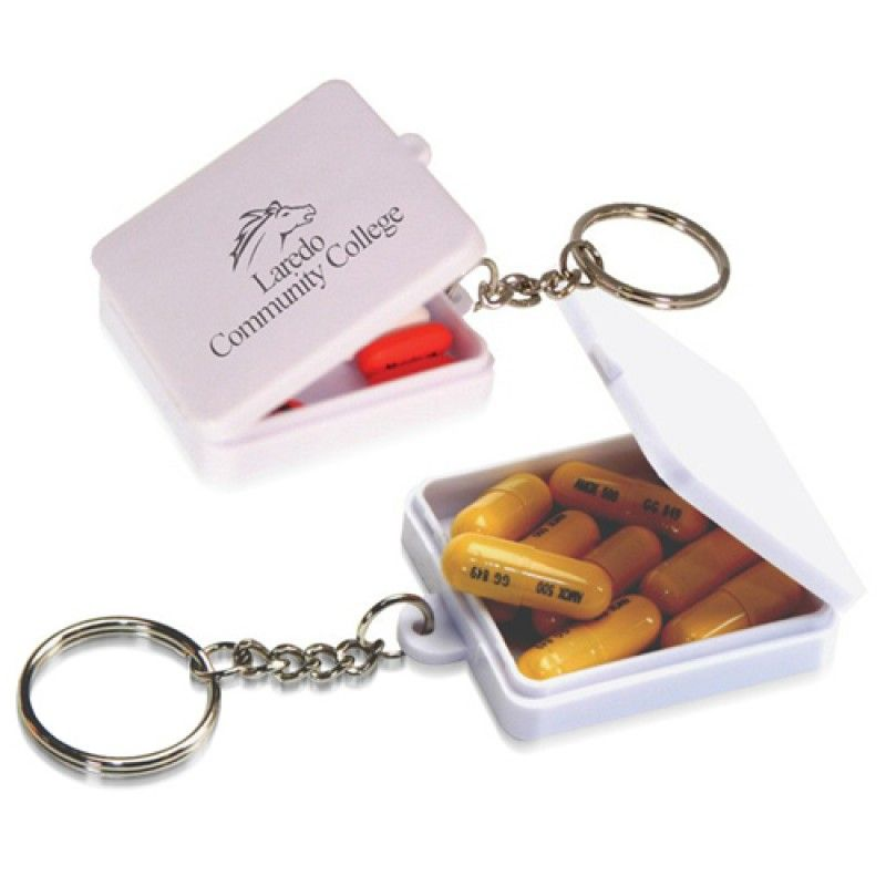 Wholesale Square Shaped Pill Holder Keychain