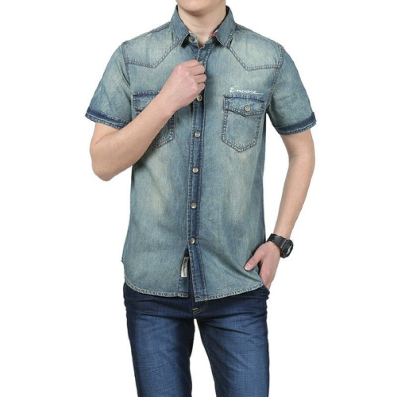 Wholesale Breathable Patchwork Jeans Shirt