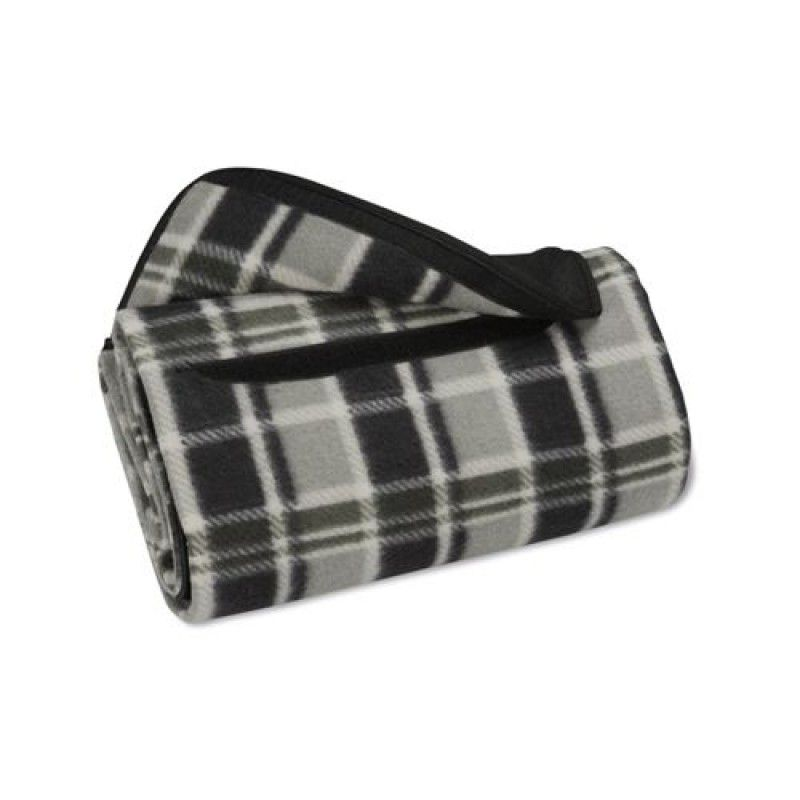 Wholesale Black Gray Plaid Roll Up Blanket