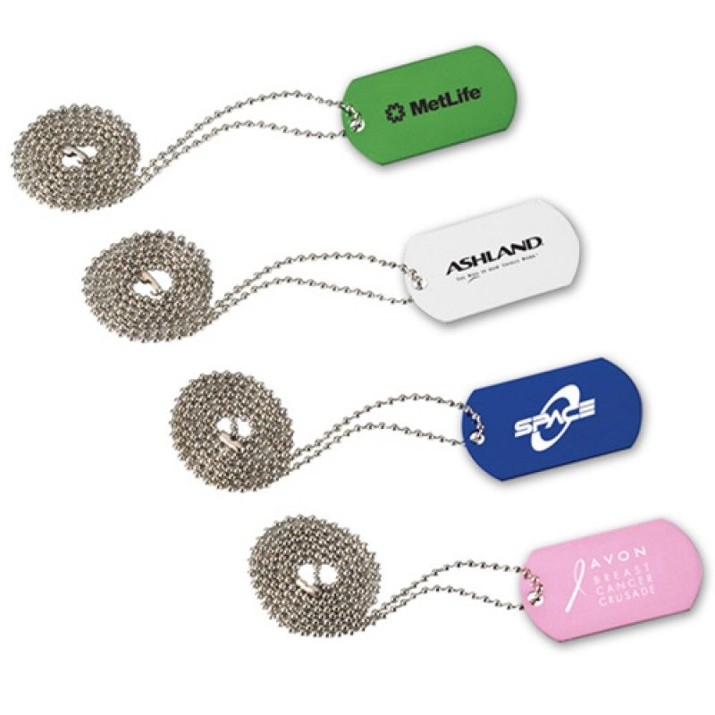 Wholesale Aluminum Dog Tag With Beaded Chain