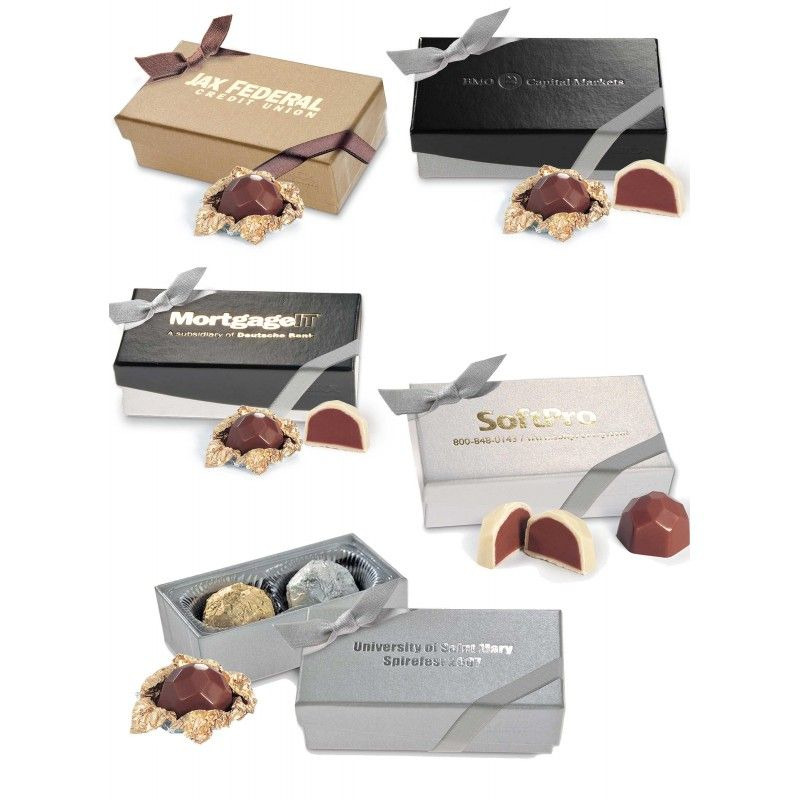 Wholesale Nouveau Line 2 pc. Truffle Box w/ Two Belgian Chocolate Hazelnut Truffles-[AT-29007]