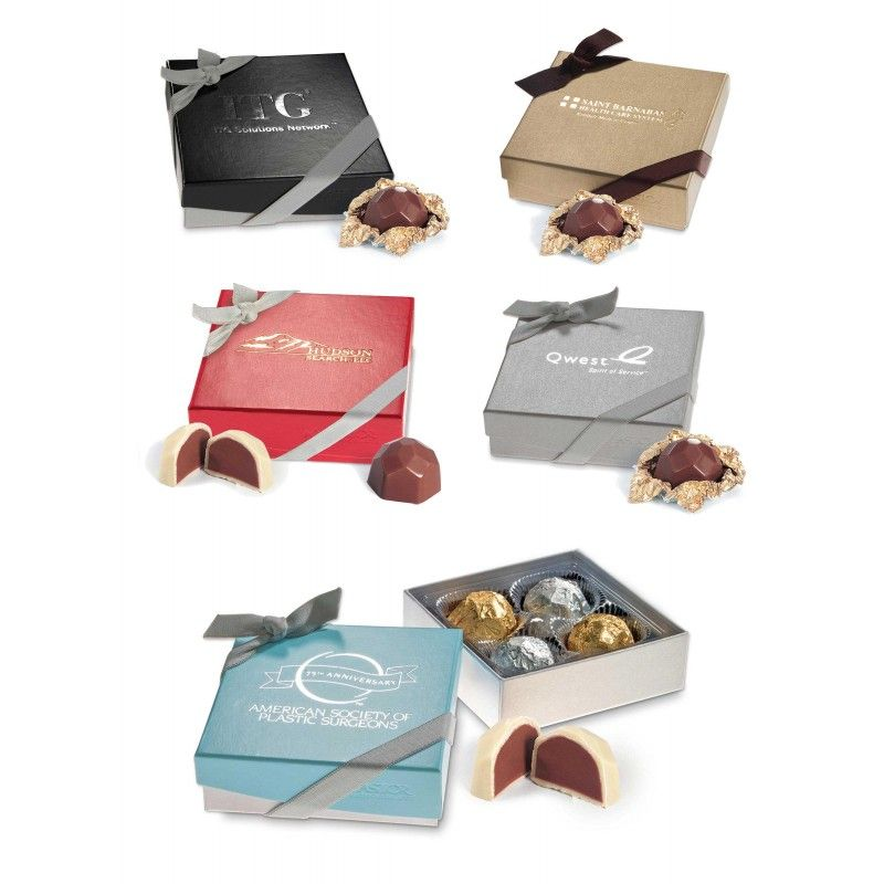 Wholesale Nouveau Line 4 pc. Truffle Box w/ Two Belgian Chocolate Hazelnut Truffles-[AT-29008]