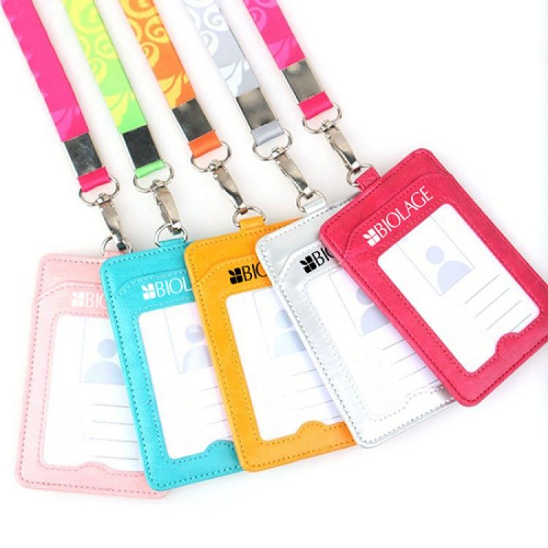 Wholesale Leather Slim ID Card Holder with Lanyard