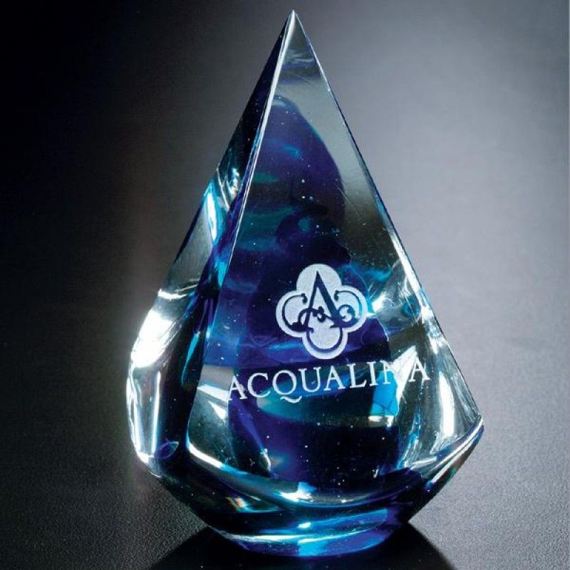 Wholesale Blue Quatro Pyramid Award-[CD-28003]