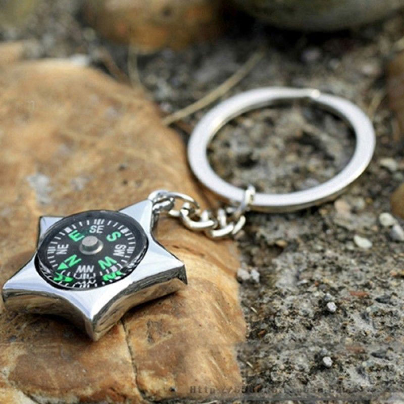 Wholesale Star-Shaped Compass Keychain