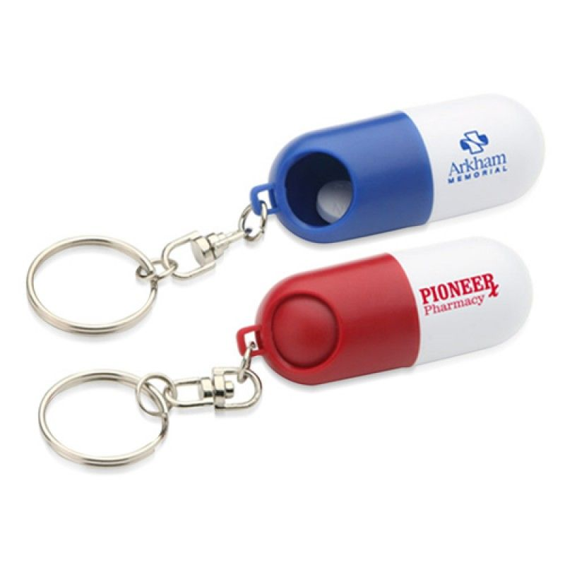 Wholesale Capsule shaped Pill Holder With Keychain