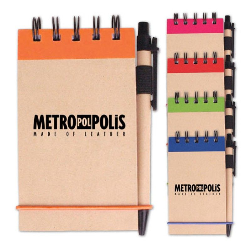 Wholesale Spiral Bound Kraft Jotter With Pen