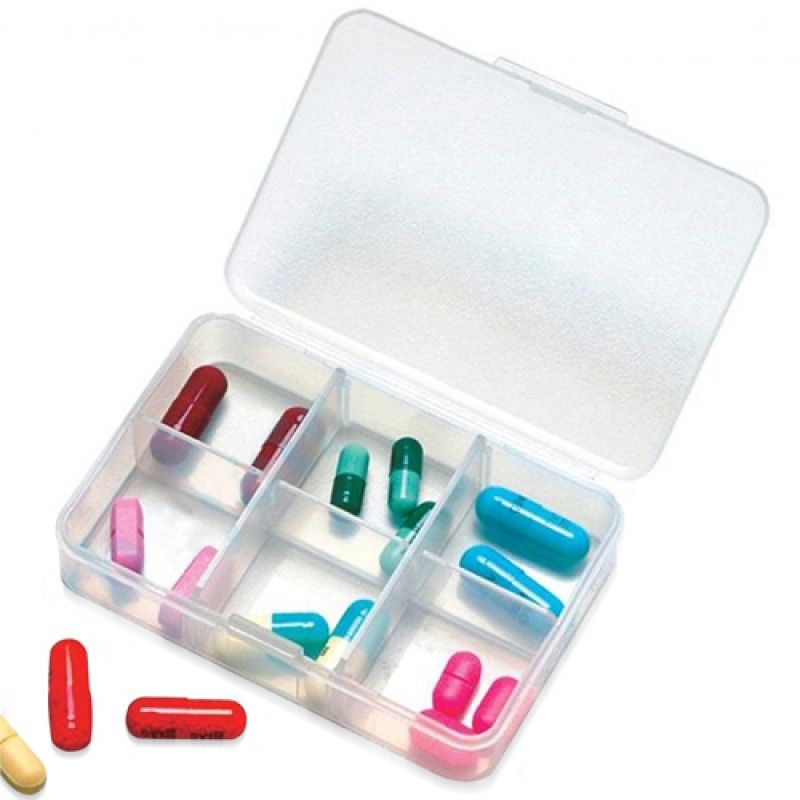 Wholesale Clear 6 Compartment Pill Storage Box