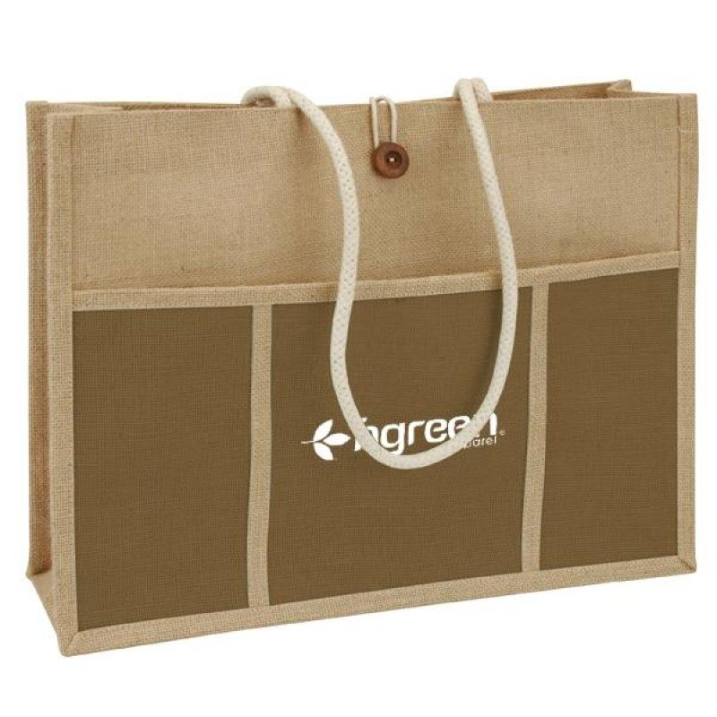 Wholesale Jute Panel Pocket Tote-[SW-28015]
