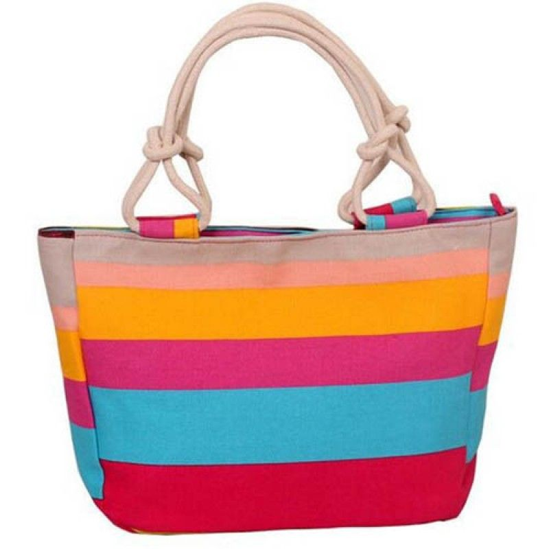 Wholesale Flower Print Stripes Large Beach Bags