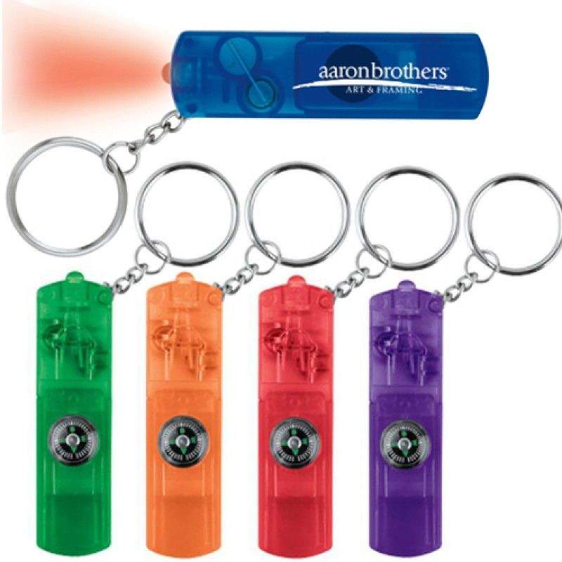 Wholesale Whistle LED Key Light With Compass