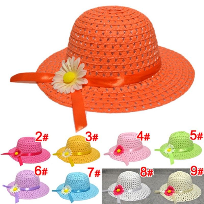 Wholesale Hollow Flower Straw Hats for Childrens