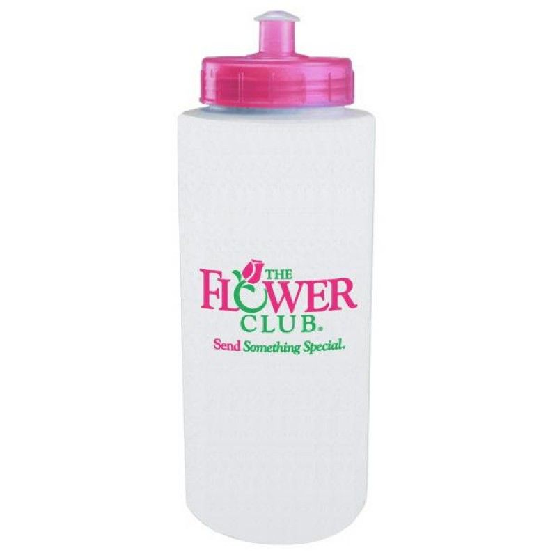 Wholesale 32 oz. Pink Lid Sport Bottle with Push/Pull Lid-[CP-27011BC]