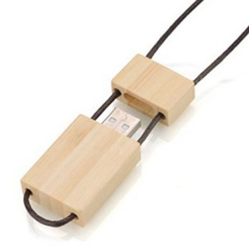 Wholesale 1GB Eco Wooden Flash With Lanyard