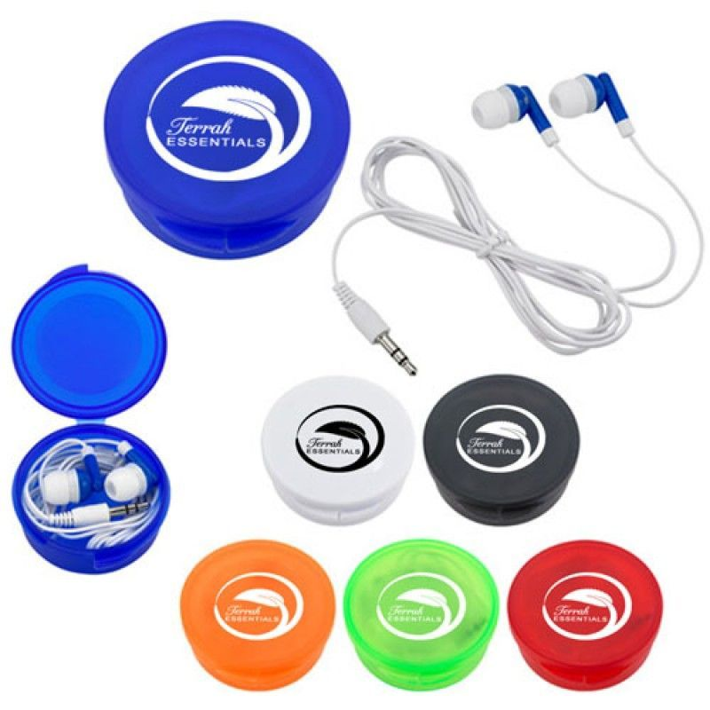 Wholesale Earbuds With Round Plastic Case