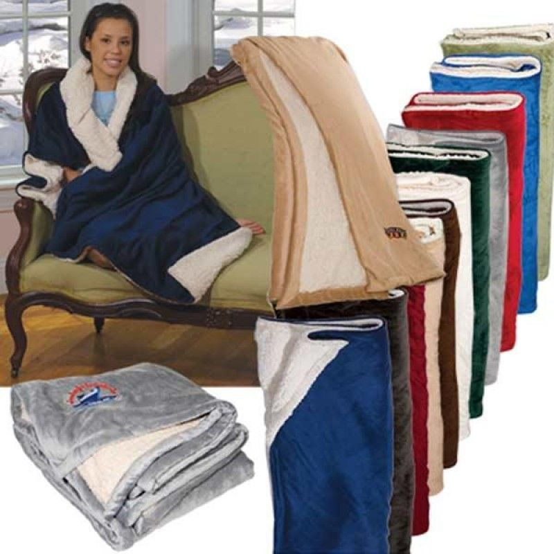 "Wholesale Embroidered Micro Mink Sherpa Blanket (50"" x 60"")-[FP-29400E]"