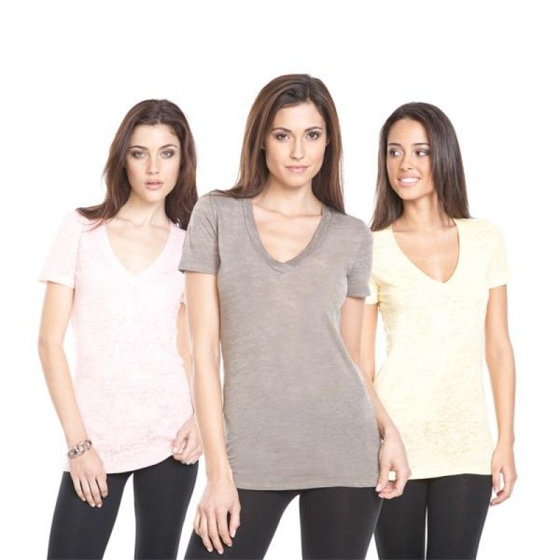 Wholesale Next Level Ladies Burnout Deep V-Neck Tee-[EV-25010]