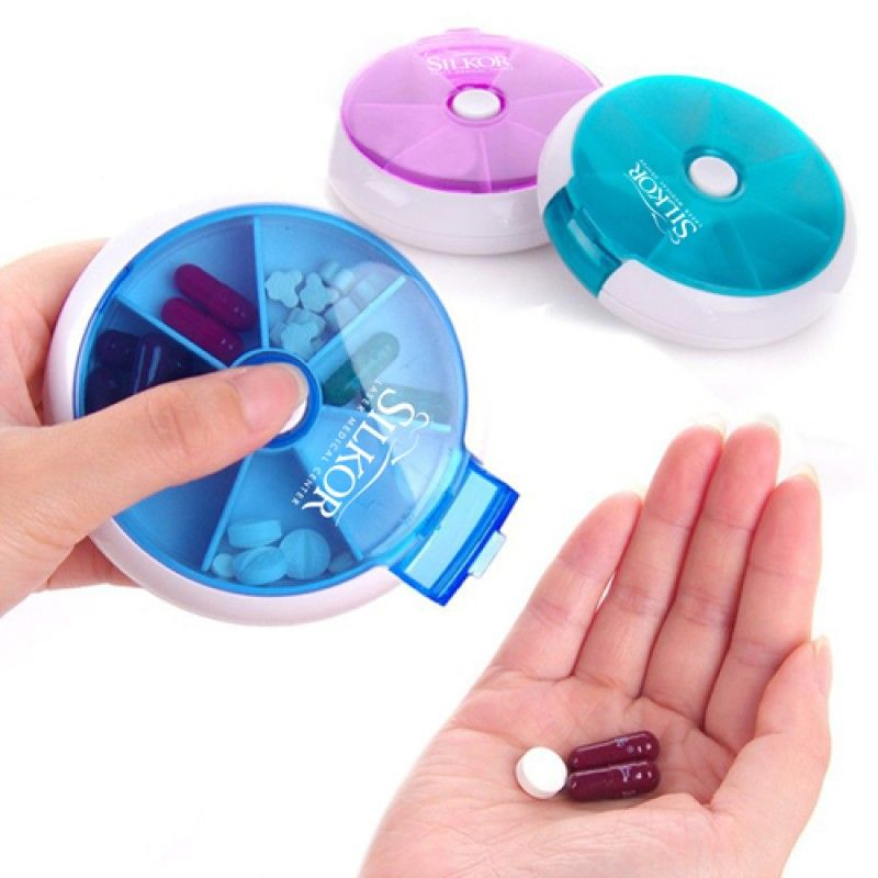 Wholesale Round 7 Compartment Rotate Pill Box