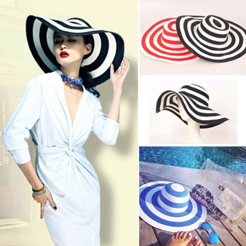Wholesale Striped Outdoor Large Brim Hat