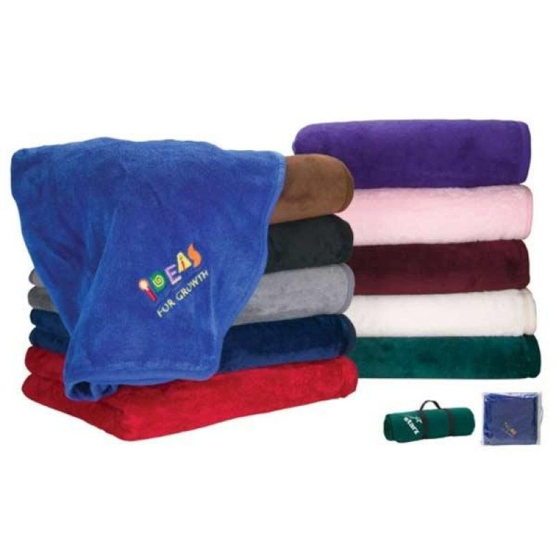 "Wholesale Embroidered Micro Plush Fleece Blanket (50"" x 60"")-[FP-29280E]"