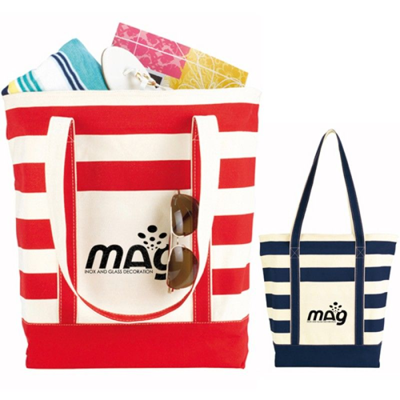 Wholesale Trendy Striped Cotton Tote Bags