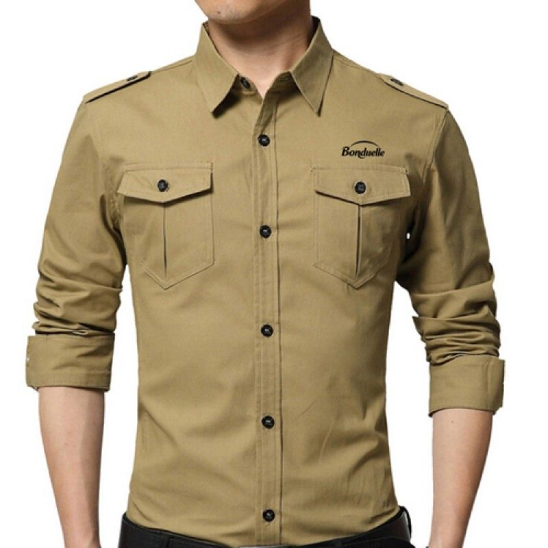 Wholesale Double Pockets Men Dress Shirts