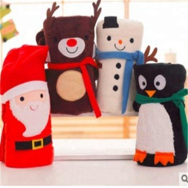Lovely cartoon santa claus christmas flannel blanket gift