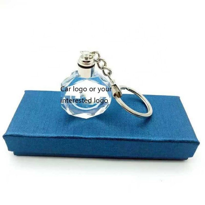 2019 selling promotion gift custom logo crystal led keychain
