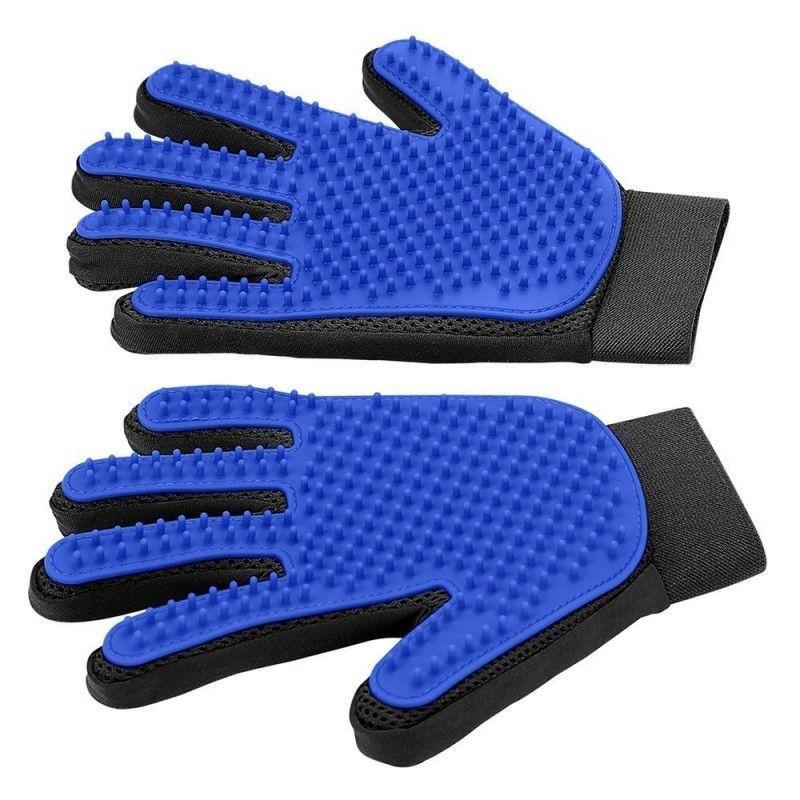 Pet Grooming Glove - Gentle Deshedding Brush Glove - Efficient Pet Hair Remover Mitt - Enhanced Five Finger Design - Per
