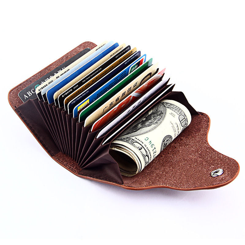 Minimalist genuine leather front pocket wallet small mini card holder bag custom logo