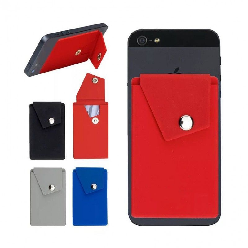 Adhesive Holder Pouch Pocket Snap Closure Flap Doubles as Phone Stand Silicone Cell Phone Custom Wallets with Stand