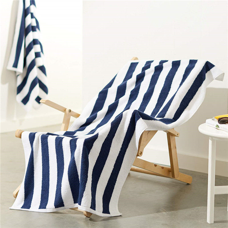 100% Cotton Blue And White Striped Beach Towels