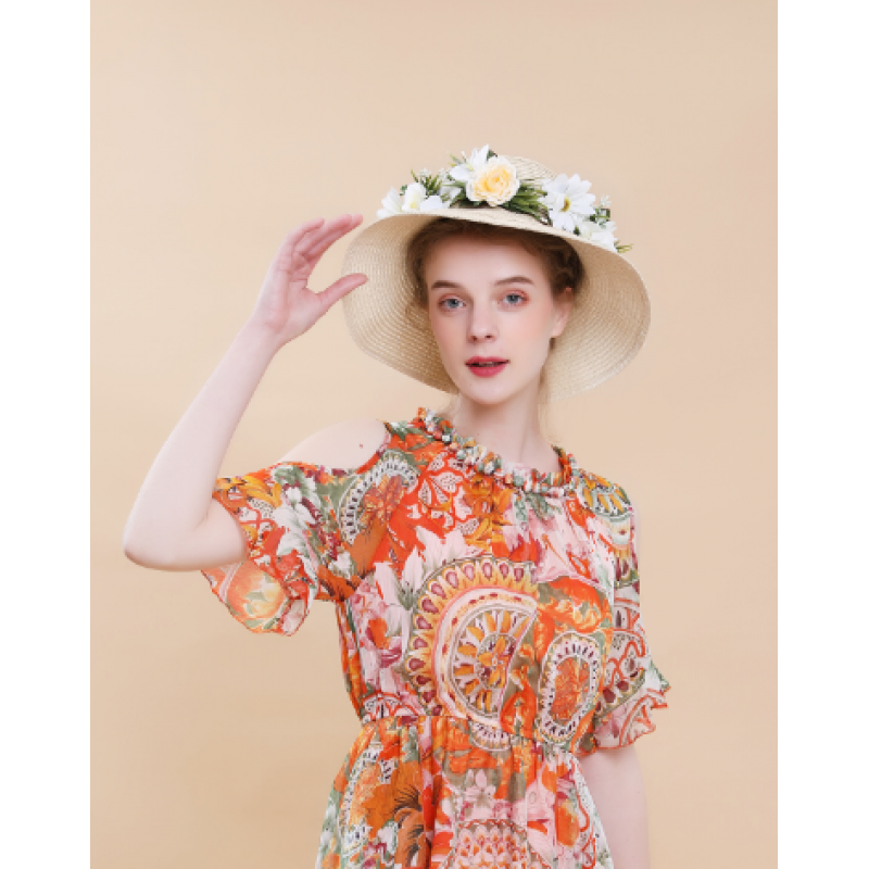 Wholesale custom ladies fashion floppy foldable fedora women summer sun bucket beach straw hat 2019