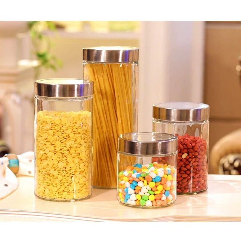 round straight side sealed glass storage canister for tea coffee sugar pasta