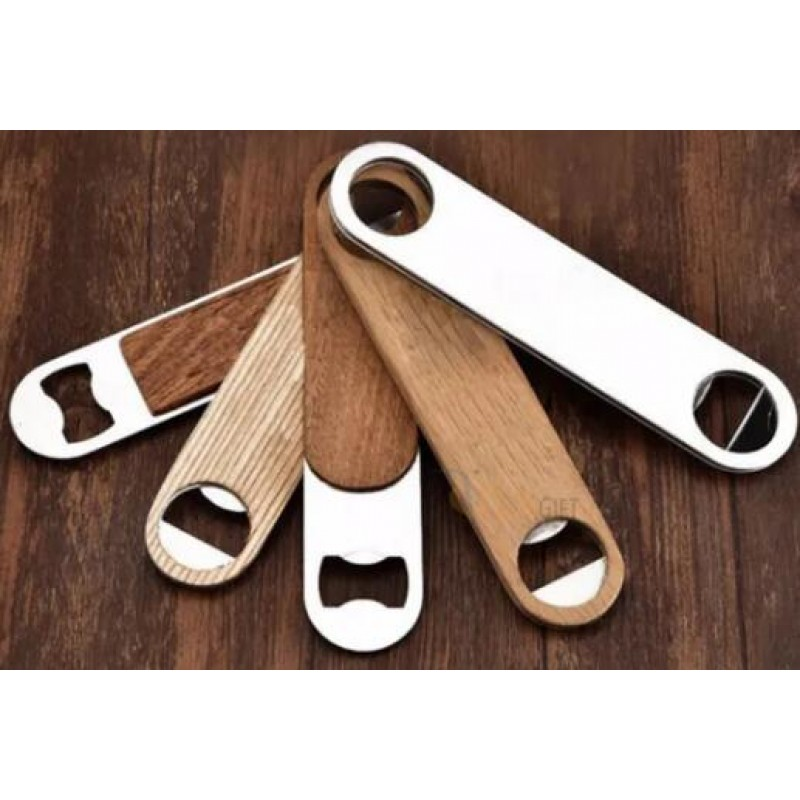 Custom Wholesale Stainless Steel Creative Style Wooden Beer Bottle Opener