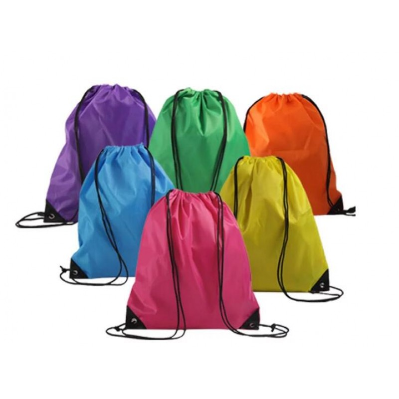 wholesale Promotional custom organic waterproof small polyester Nylon drawstring bags with rope handle for gift and shopping