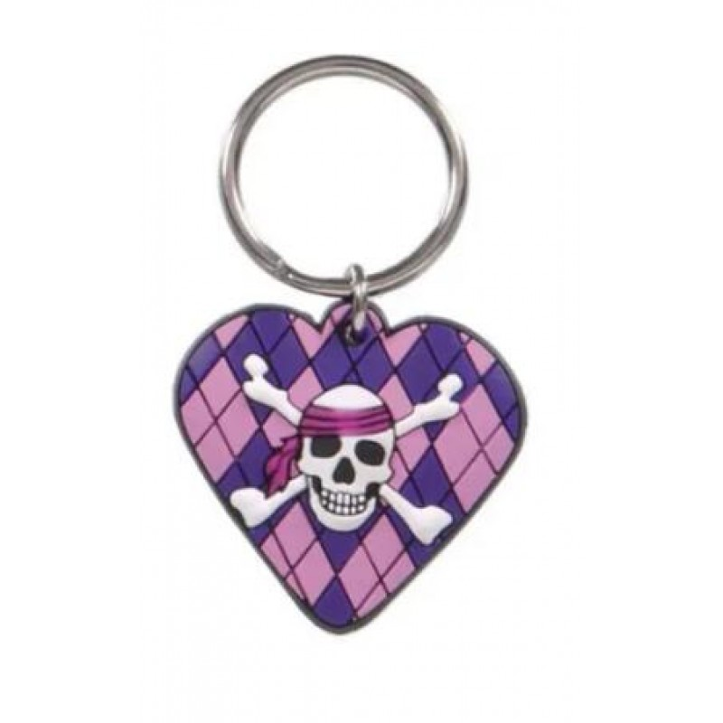 High Quality Heart Skull Design Custom PVC Keychain