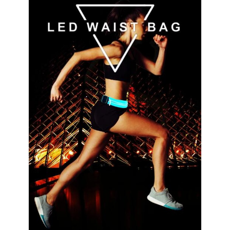 Sport Belt Fashion Reflective Running Waist Bag LED Light Waist Bag