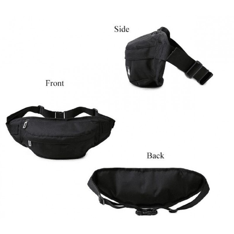 Custom Classical Black Sport Waist Bag Multifunction Waterproof Nurse Waist Bag Men