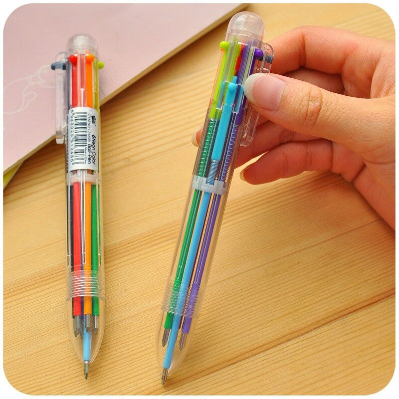 creative new writing colorful multi color Ballpoint Pens cute 6 in 1 colors