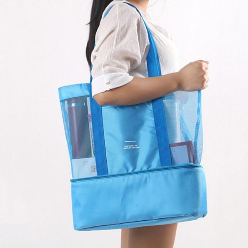High Capacity Women Mesh Transparent Bag Double-layer Heat Preservation Large Picnic Beach Bags