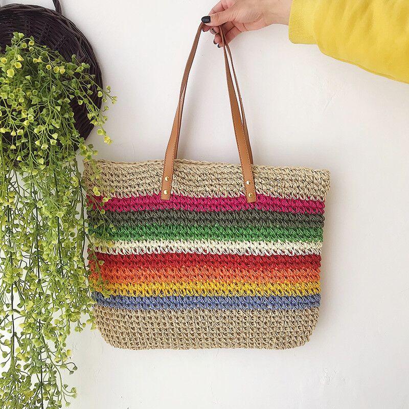 women luxury straw handbag famous designer ladies wicker shoulder hand bag 2019 beach woven girl crossbody bags