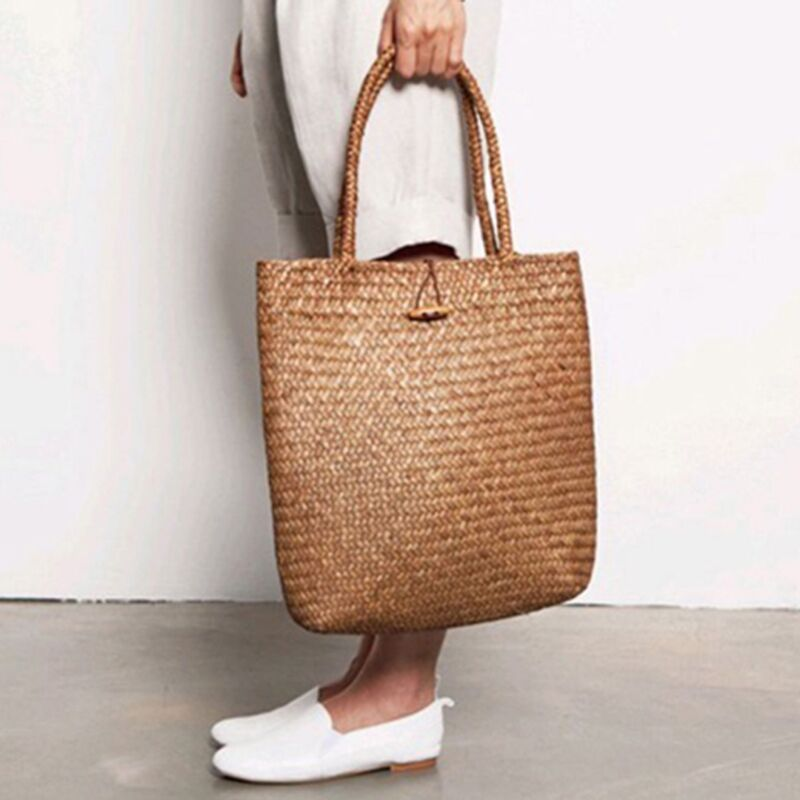 Summer Beach Bag Rattan Woven Handmade Knitted Straw Large Capacity Totes Women Shoulder Bag