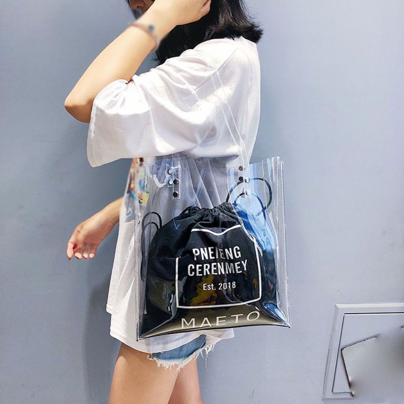 Luxury Women Bags Designer Women's Fashion Transparent Shoulder Bag Bundle Pocket Beach Bag
