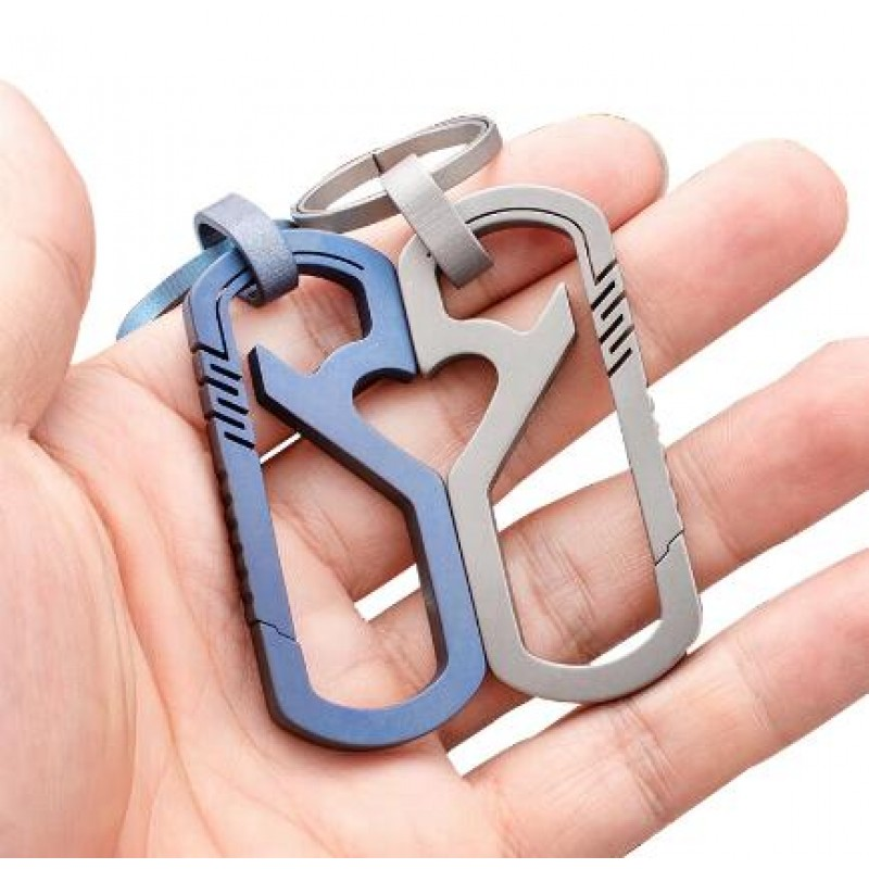 Titanium Carabiner Key Chain Clip and Bottle Opener Outdoor Climbing Accessories