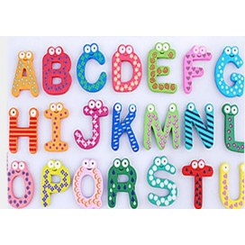 Words Fridge magnets 26pcs/Set Children Kids Wooden Cartoon Alphabet Education Learning Toys