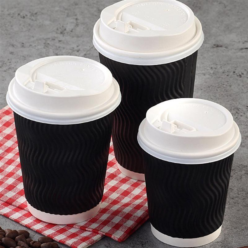 50pcs 20pcs Disposable Coffee Cups Insulation Takeaway Threaded Paper Cup With Lid